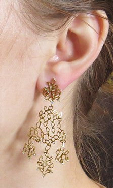 image of H Stern Diamond 18K Gold Lace Chandelier Earrings