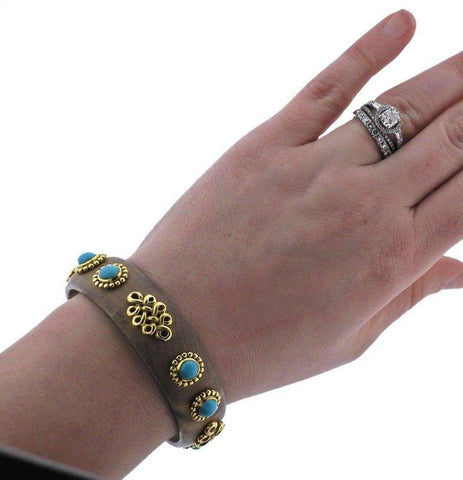 image of Adria de Haume Wood Turquoise Gold Bangle Bracelet