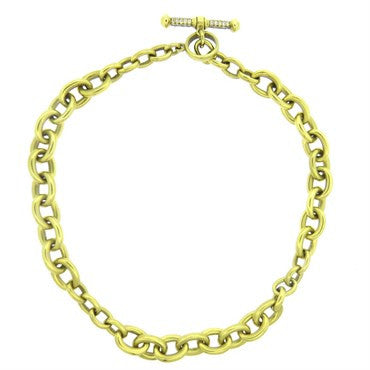 image of Barry Kieselstein Cord Gold Chain Diamond Toggle Necklace