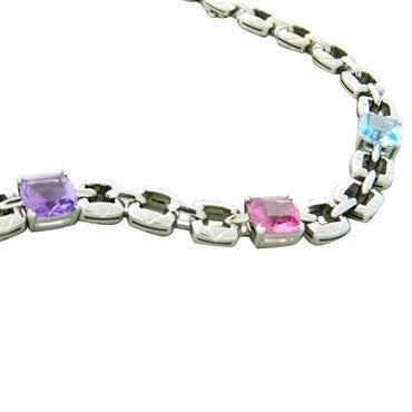 thumbnail image of New Asprey 18k Gold Topaz Amethyst Tourmaline Necklace