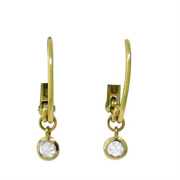 image of New Pomellato Lucciole 18k Gold Rose Cut Diamond Drop Earrings