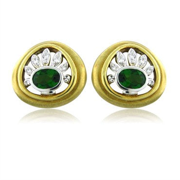 image of Seidengang 18K Yellow And White Gold Diamond Green Tourmaline Earrings