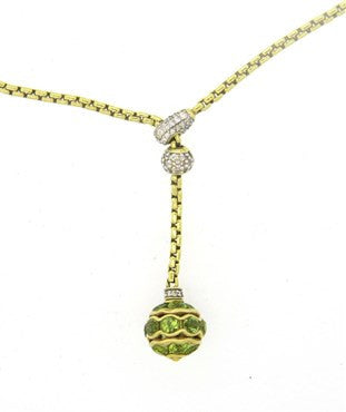 thumbnail image of David Yurman 18k Gold Diamond Peridot Lariat Pendant Necklace