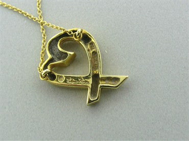 thumbnail image of Tiffany & Co Paloma Picasso 18K Gold Loving Heart Pendant Necklace