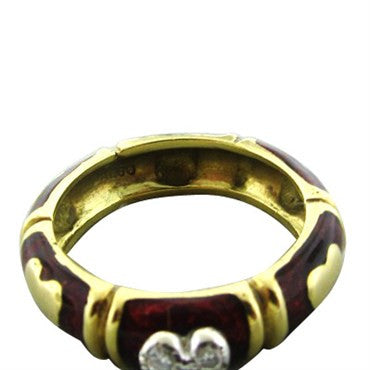 image of Hidalgo 18K Yellow Gold Red Enamel Diamond Heart Band Ring