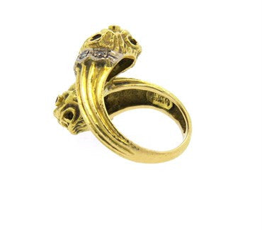 image of Ilias Lalaounis Chimera Ruby Diamond 18k Gold Bypass Ring