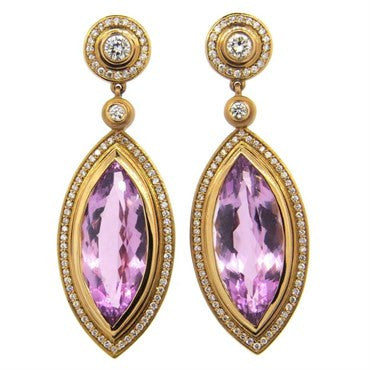 image of Impressive Sam Lehr Kunzite 1.20ctw Diamond 18k Gold Drop Earrings