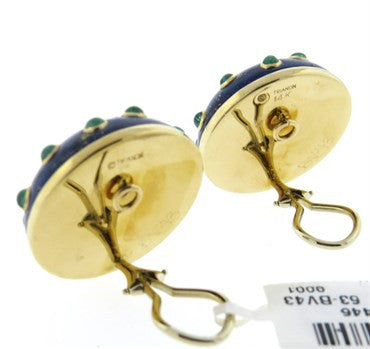 thumbnail image of Trianon Lapis Pearl and Emerald Gold Earrings