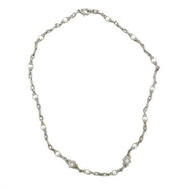 image of Estate Judith Ripka 18K White Gold Pearl Diamond Necklace