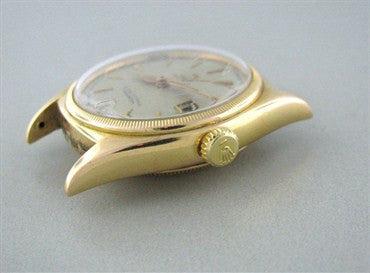 thumbnail image of Rare Vintage 1950 Large Rolex Bubbleback Ref 6075 18K Gold Mens Watch