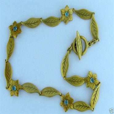 thumbnail image of Slane & Slane 18K Gold Gem Set Floral Necklace 65g
