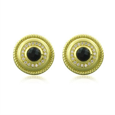 image of Judith Ripka 18k Yellow Gold Onyx Diamond Cufflinks