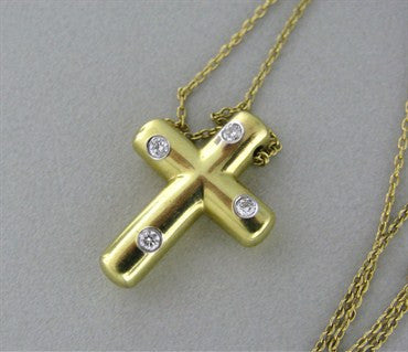 thumbnail image of Tiffany & Co 18K Gold Platinum Etoile Diamond Cross Pendant Necklace
