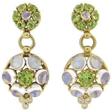 thumbnail image of Temple St. Clair Match Moonstone Emerald Diamond 18k Gold Earrings