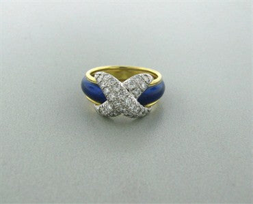 image of Tiffany & Co Jean Schlumberger Pave Diamond X Blue Enamel Ring