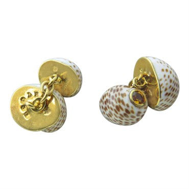 image of Trianon Shell Citrine Gold Cufflinks