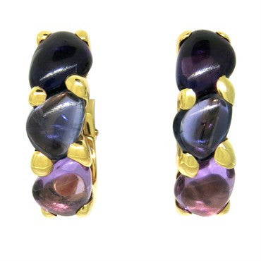 image of New Pomellato Sassi 18k Gold Amethyst Iolite Earrings