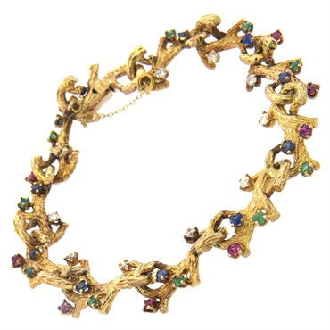 image of Naturalistic 14K Gold Diamond Emerald Ruby Sapphire Bracelet