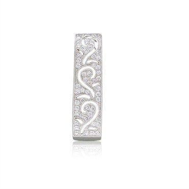 image of Simon G 18k White Gold Diamond Necklace Slide Pendant