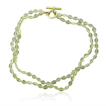 image of Slane & Slane 18K Gold Lemon Citrine Diamond Olive Bead Necklace