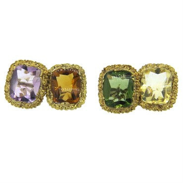 image of Antique Continental Multicolor Gemstone 14k Gold Cufflinks