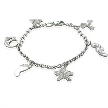 image of Roberto Coin 18K White Gold 1.02ctw Diamond Charm Bracelet