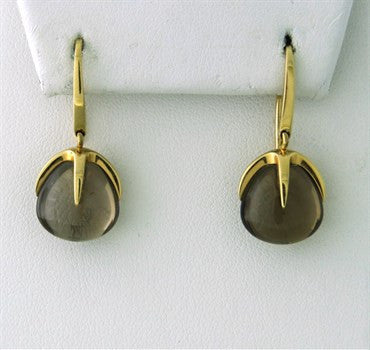 image of New Pomellato Veleno 18k Gold Smokey Topaz Drop Earrings