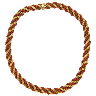 image of 1960s Italian 14k Gold Coral Bead Rope Necklace