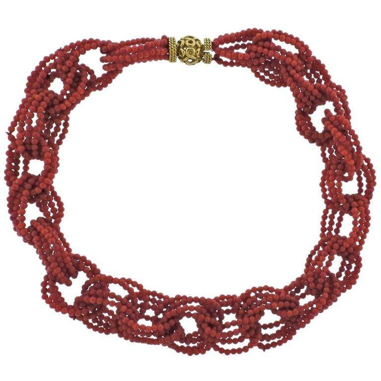 thumbnail image of Adria de Haume Coral Gold Link Necklace