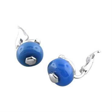 thumbnail image of Marina B 18k White Gold Blue Gemstone Earrings