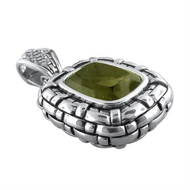 thumbnail image of Scott Kay Olive Quartz Basketweave Sterling Silver Pendant