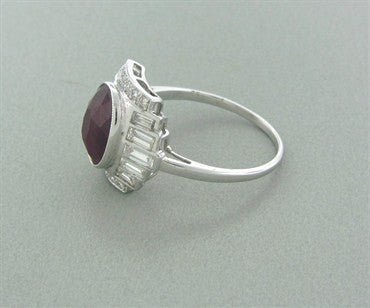 thumbnail image of Estate Art Deco Style 18K White Gold 2.00ct Ruby Diamond Ring