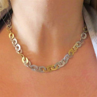 image of Modern Gold and Platinum Link Necklace