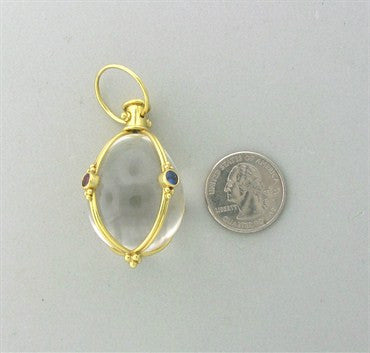 thumbnail image of Temple St. Clair 18K Gold Rock Crystal Ruby Emerald Sapphire Amulet
