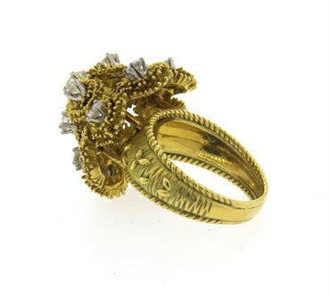 thumbnail image of 1970s Modern 1.50ctw Diamond 18k Gold Cocktail Ring