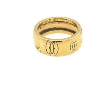 thumbnail image of Cartier 18k Yellow Gold Wide 7.8mm Band Ring Size 52