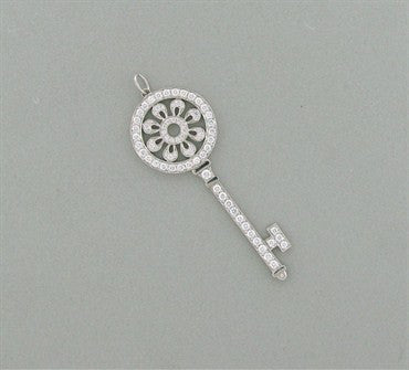 thumbnail image of Tiffany & Co Petals Platinum 1.18ctw Diamond Key Pendant