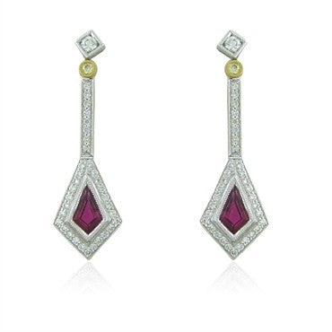 image of New Simon G 18K White Gold Rubellite Diamond Earrings
