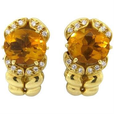 image of Kaufmann de Suisse Citrine Diamond 18k Gold Earrings