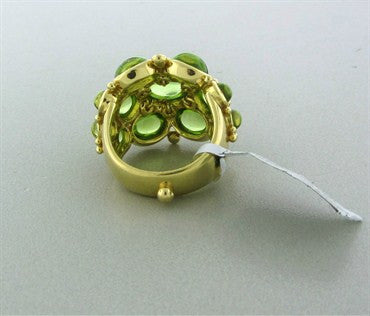 image of New Temple St. Clair Bombe 18K Gold Peridot Diamond Ring