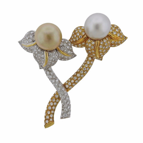 image of 18k Gold 5.00ctw Diamond South Sea Pearl Flower Brooch