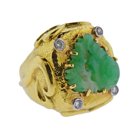 image of David Webb Carved Jade 18k Gold Platinum Diamond Cocktail Ring