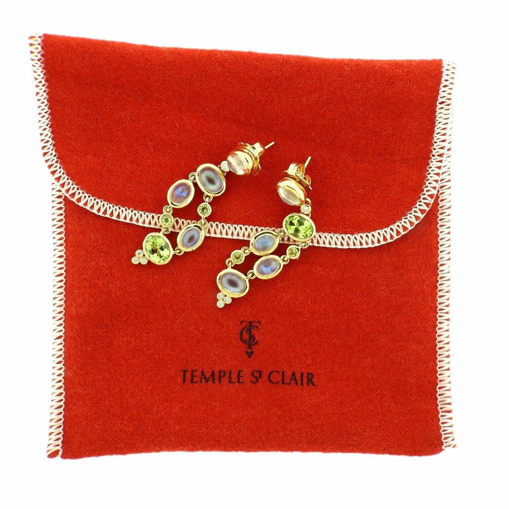 thumbnail image of Temple St. Clair Diamond Moonstone Peridot 18k Gold Earrings