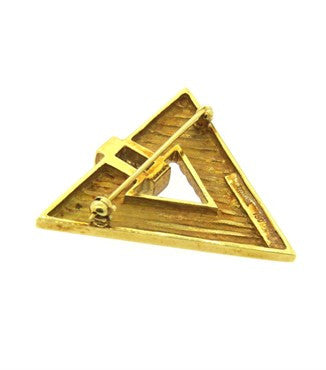 thumbnail image of 1970s Tiffany & Co Geometric 18k Gold Diamond Brooch Pin