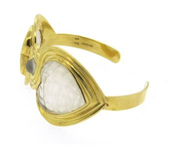 image of Gucci Frosted Crystal 18k Gold Heart Cuff Bracelet