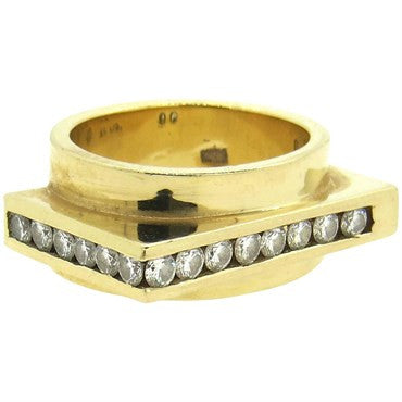 thumbnail image of Modernist Diamond 14k Gold Square Ring