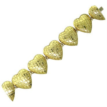 image of Gucci Heart Link 18K Gold Bracelet