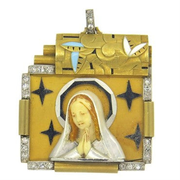 image of Art Deco Mother of Enamel Pearl Diamond Gold St. Mary Pendant