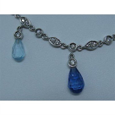 image of Gregg Ruth 18K Gold Diamond Blue Gemstone Necklace