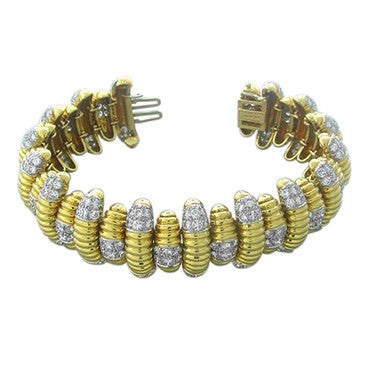 thumbnail image of David Webb 18k Gold Platinum 15.50ctw Diamond Bracelet 129.7g